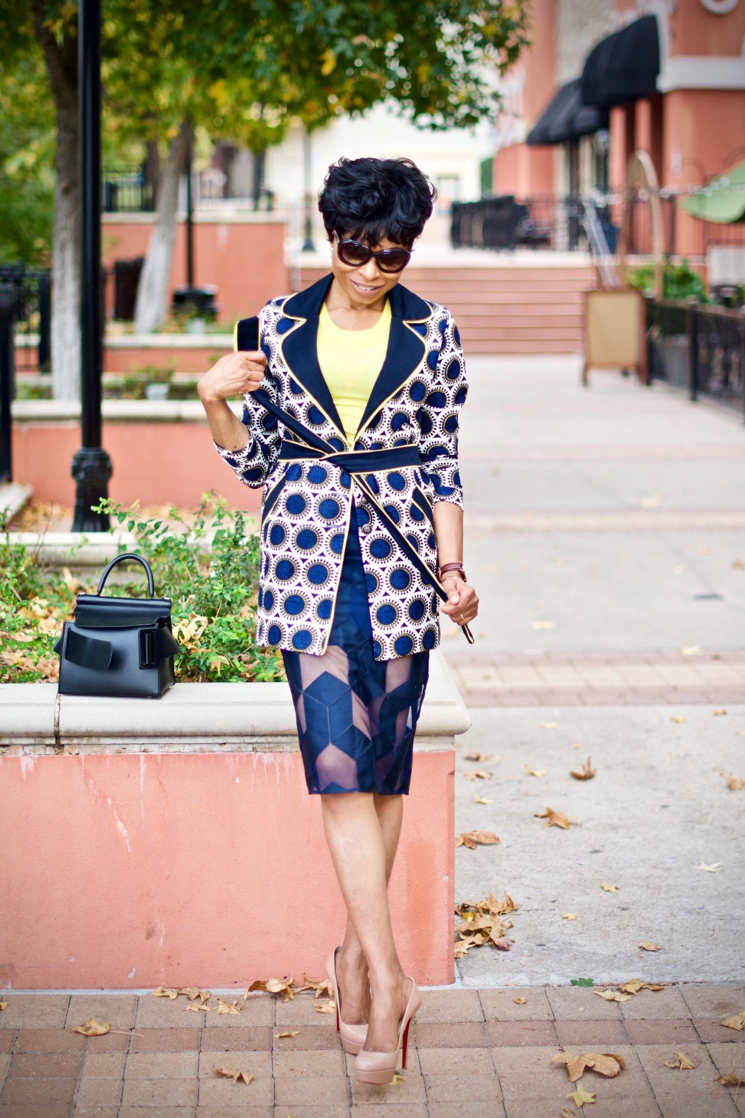 Styling Ankara trench coat + mesh pencil skirt