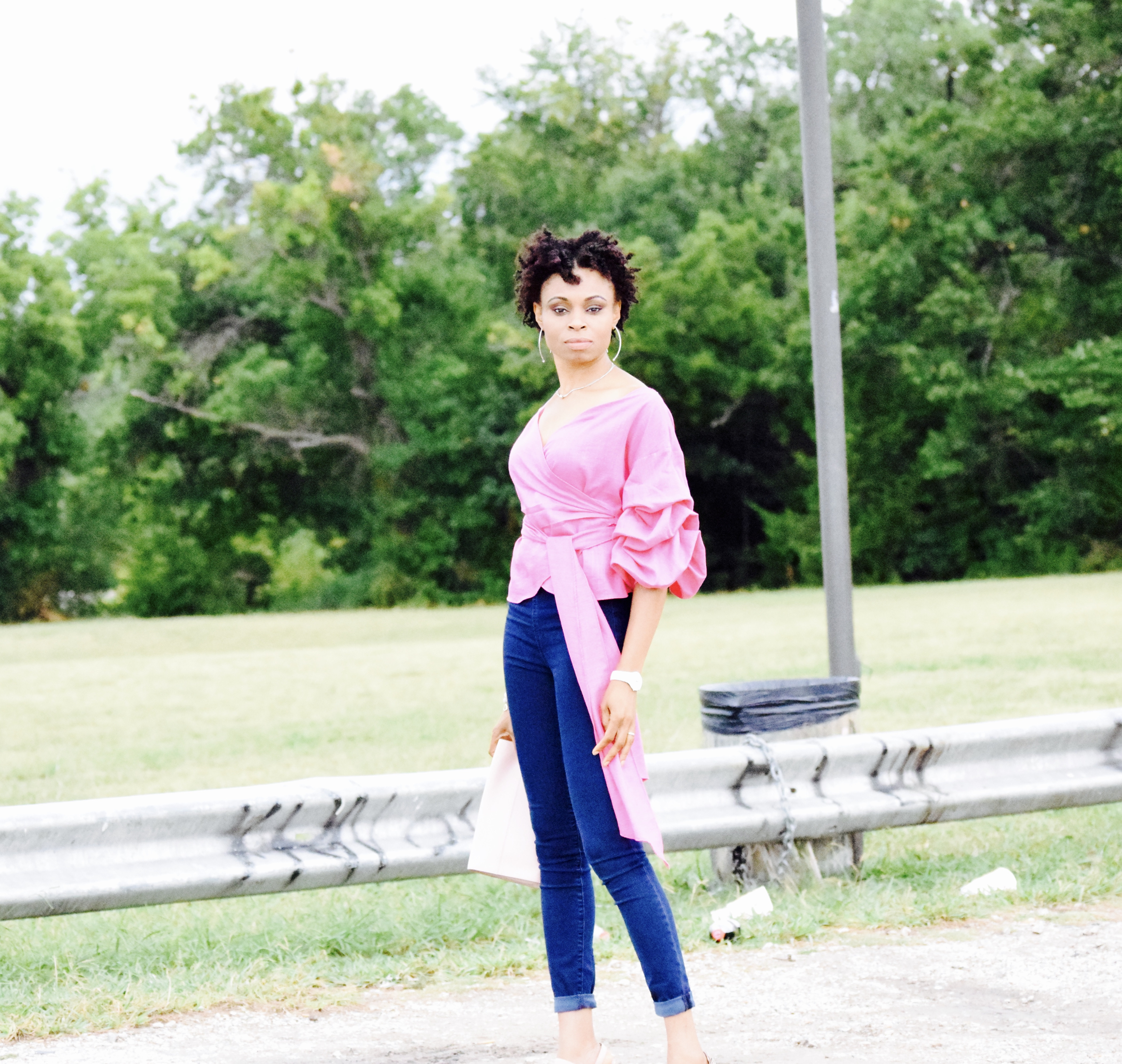 Pink Ruched sleeves with Gap Jeans