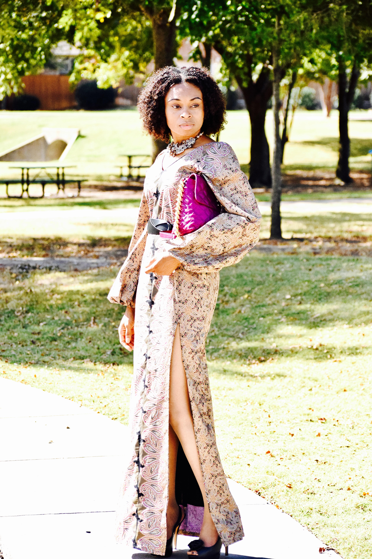 Paisley Print Ankara slit dress