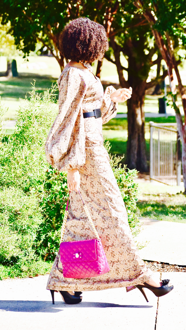 No makeup Paisley Print Ankara dress