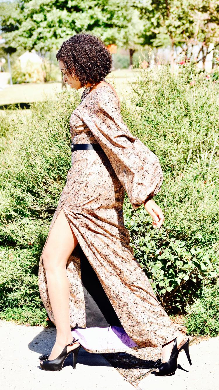 Paisley Print Ankara dress |mile high slit | Marc Jacobs handbag