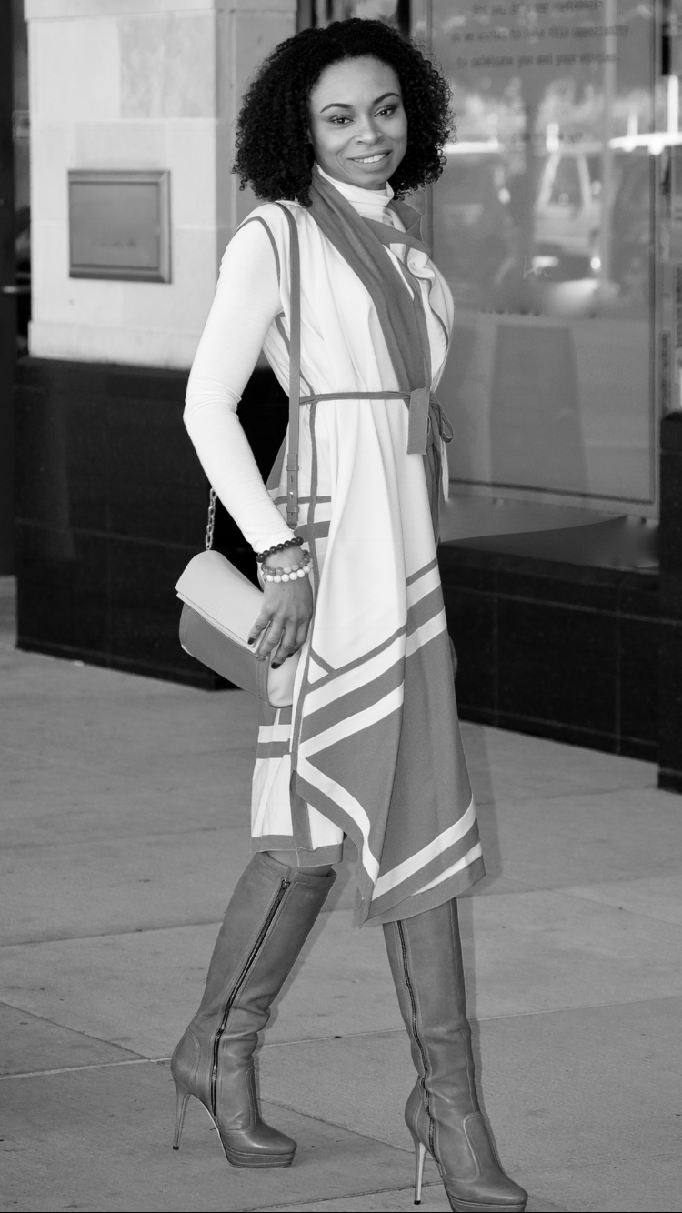 BCBG Maxazria | Jimmy Choo knee-high boots | Halston Heritage pale pink shoulder bag