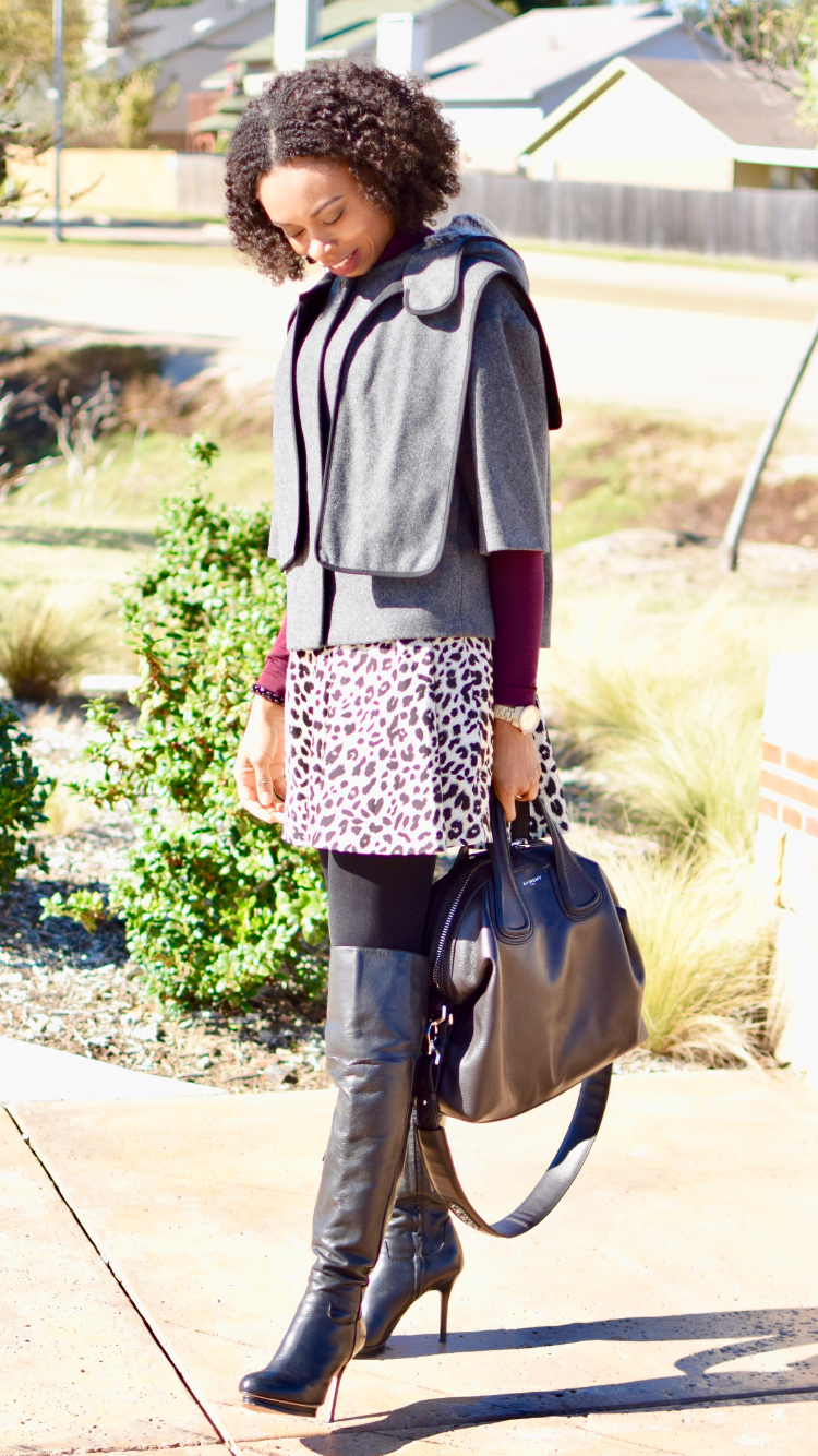 How to wear animal print Fall trend | BCG Maxazria over the knee boot | Givenchy Nightingale satchel Posted by vivellefashion