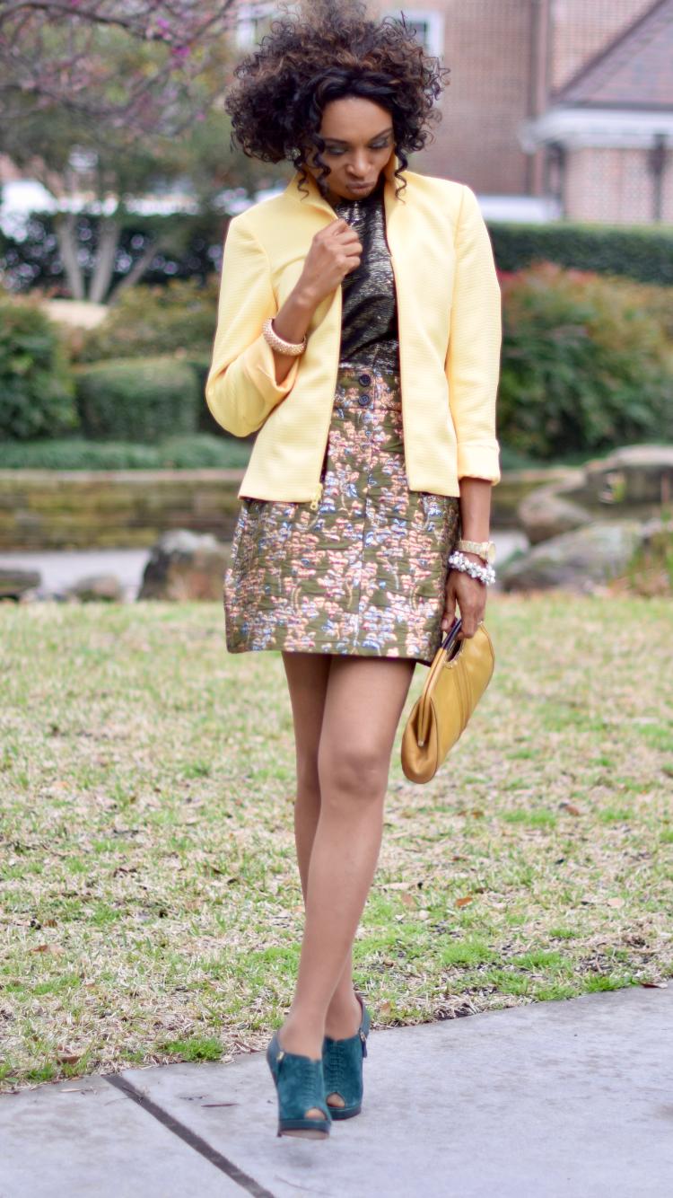 Florals + Brocade + Yellow Blazer + Metallics + Giveaway