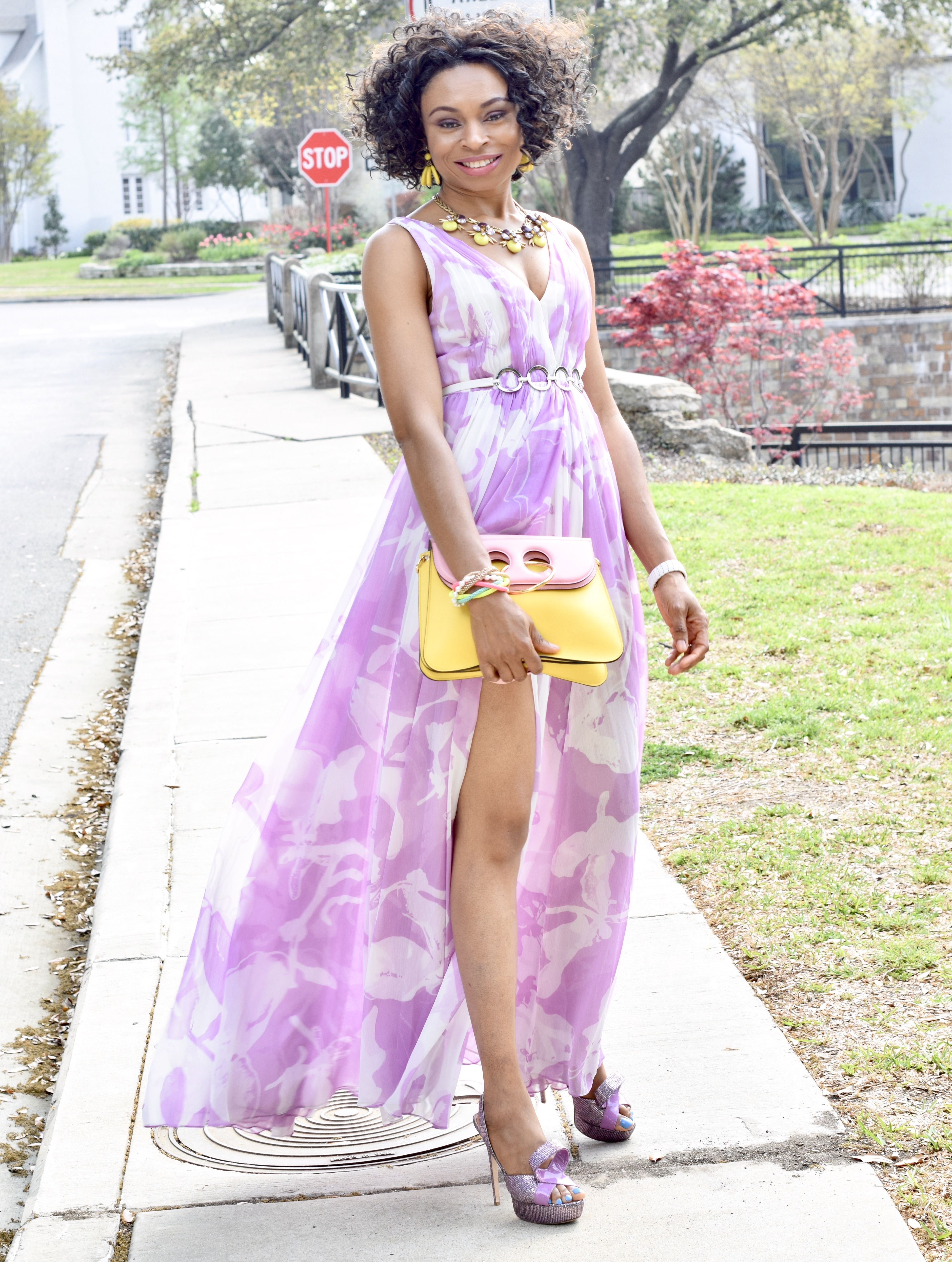 Spring floral dress-tulip orchid printed gown Posted by Vivellefashion