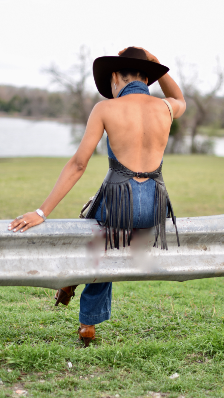 Denim Jumpsuit Chic Cowgirl Style Posted by Vivellefashion