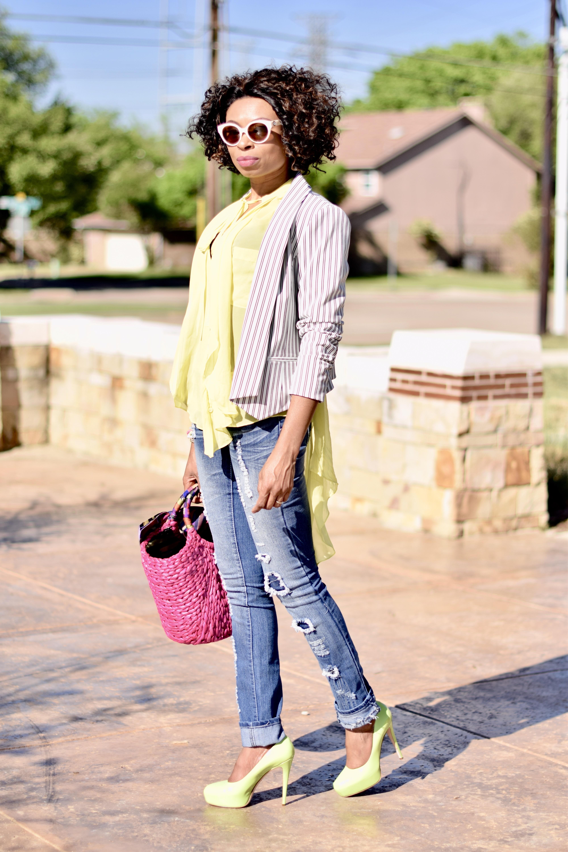 Ripped Jeans + Straw Tote + Striped Blazer