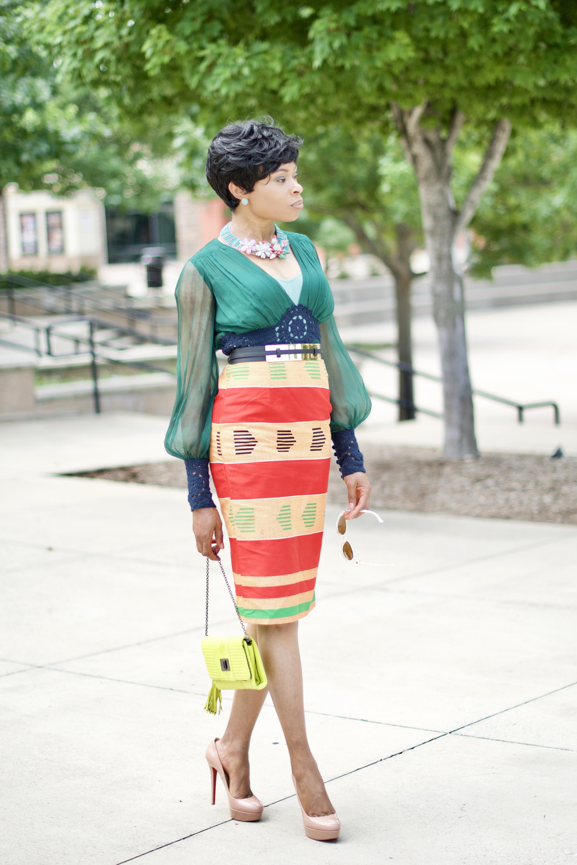 Kente Ankara Pencil skirt Posted by Vivellefashion