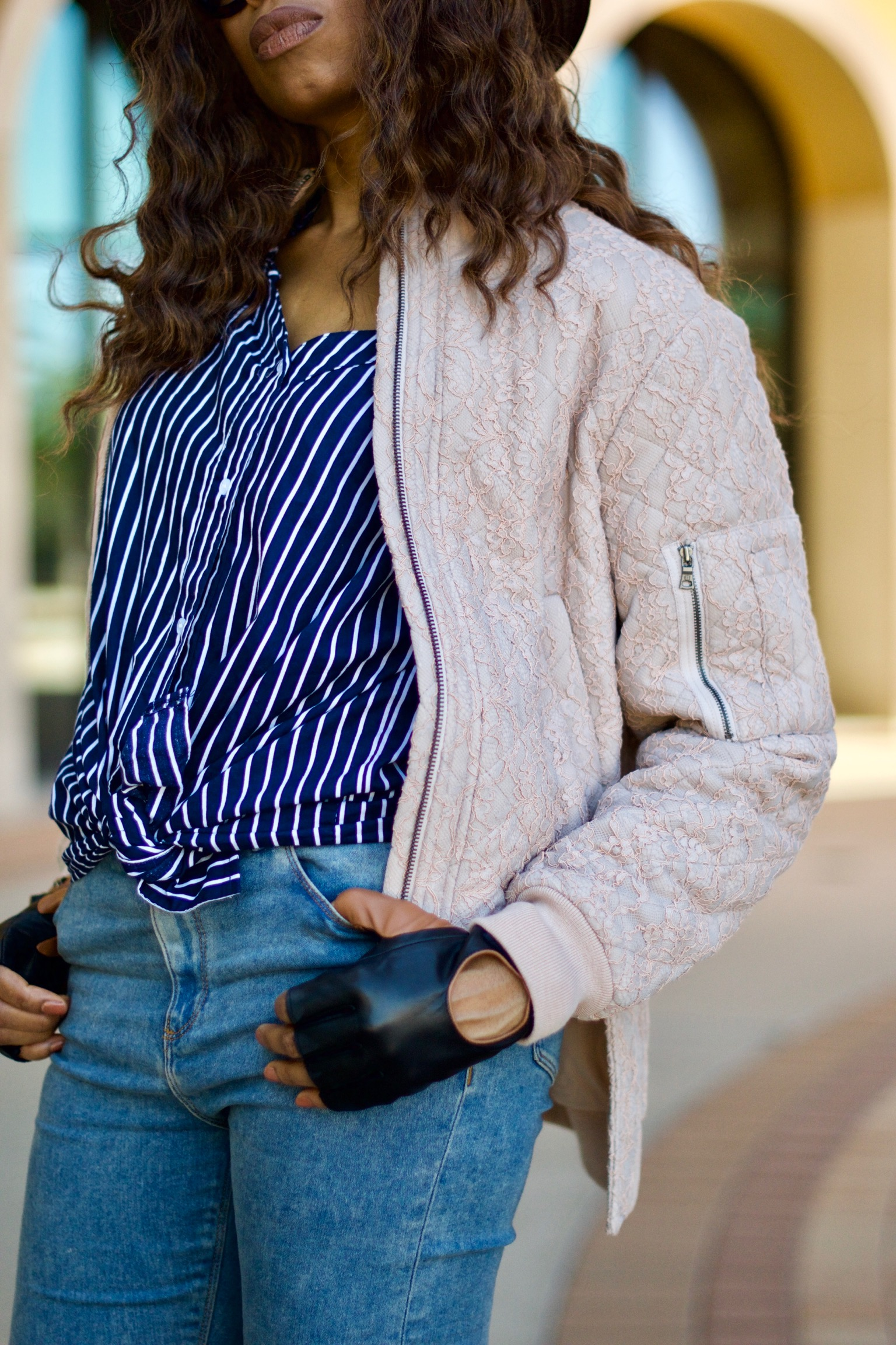 Deconstructed off shoulder shirt + Bomber Jacket Posted by Vivellefashion