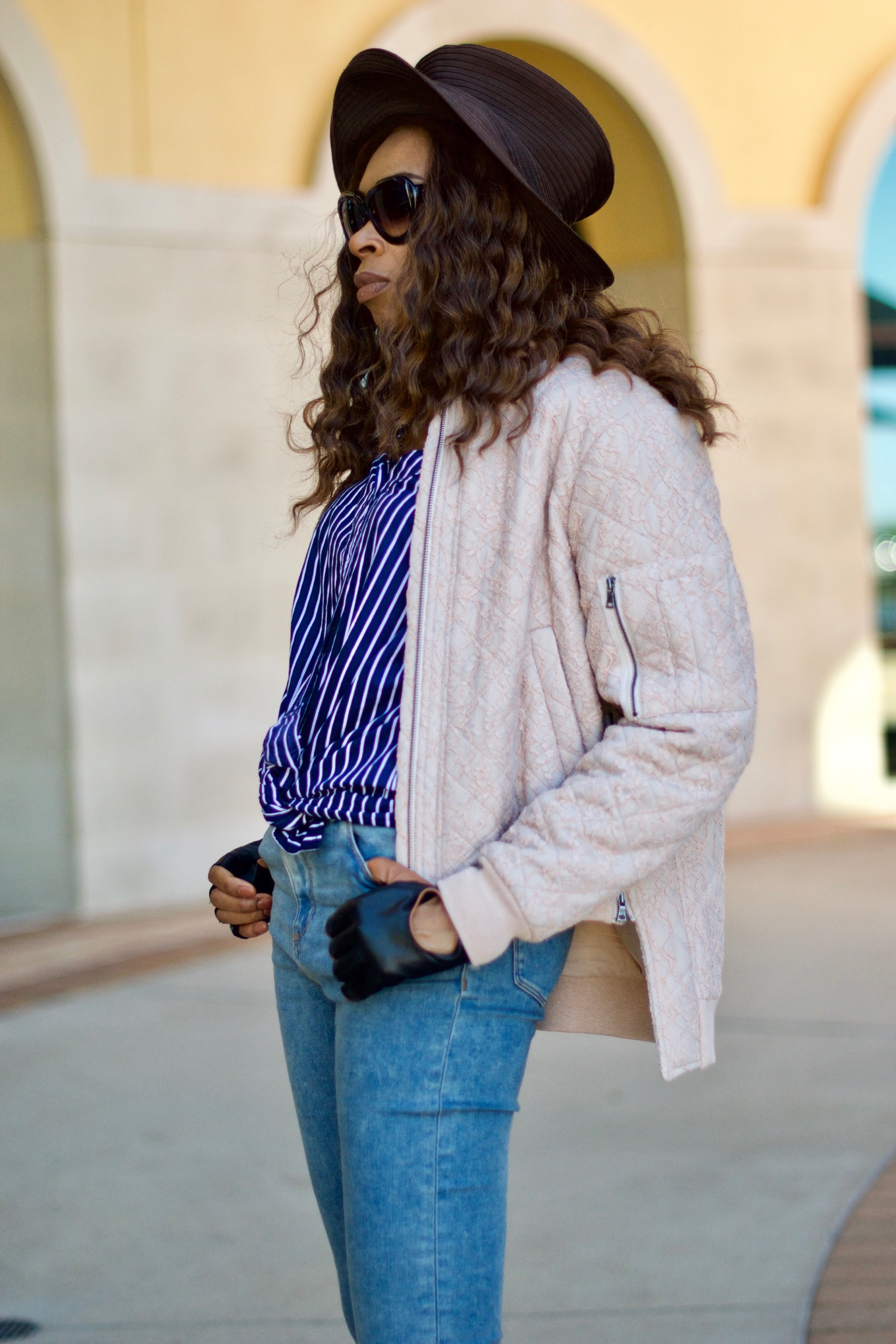 Deconstructed off shoulder shirt + Bomber Jacket