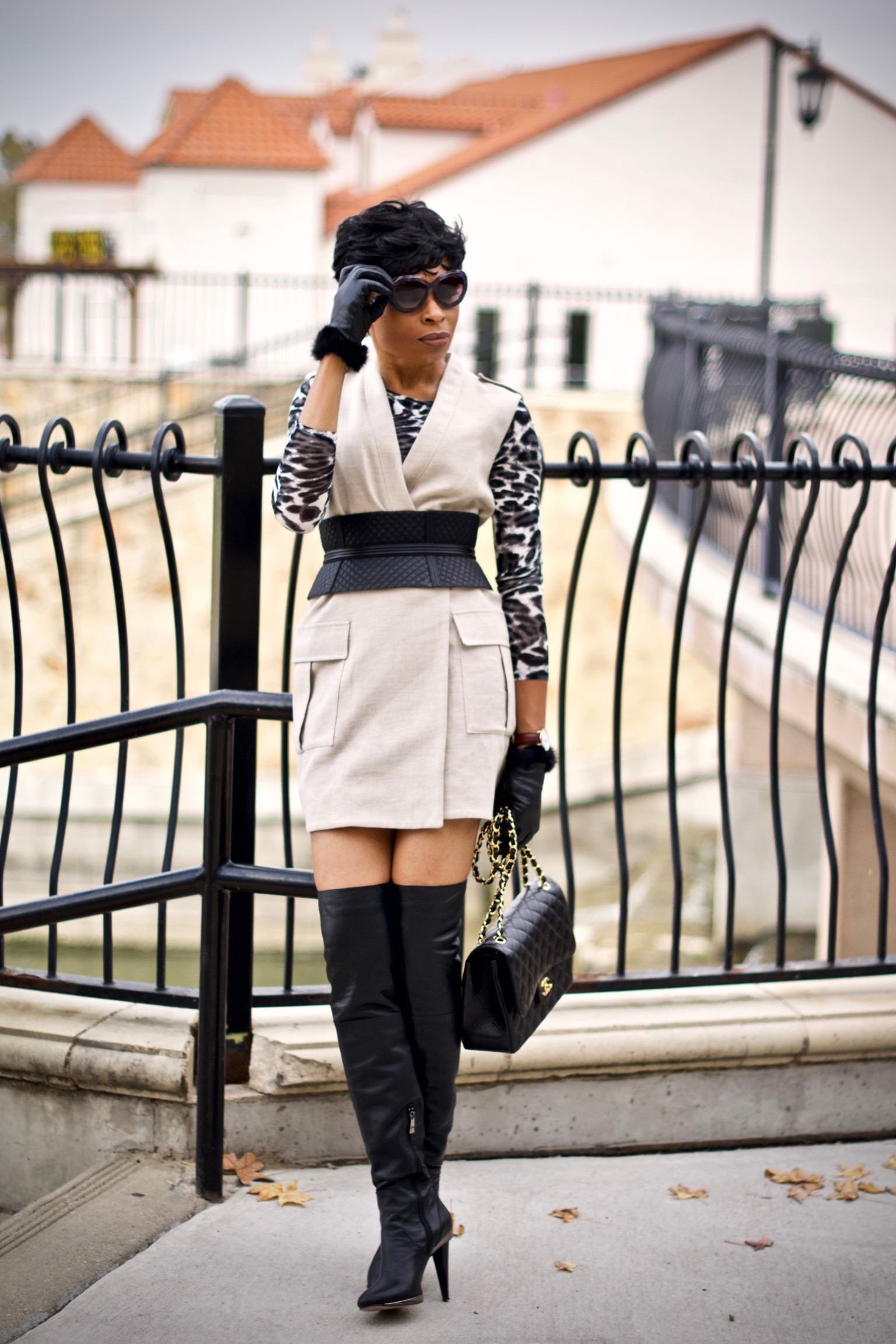 Styling long utility vest + Corset waist belt