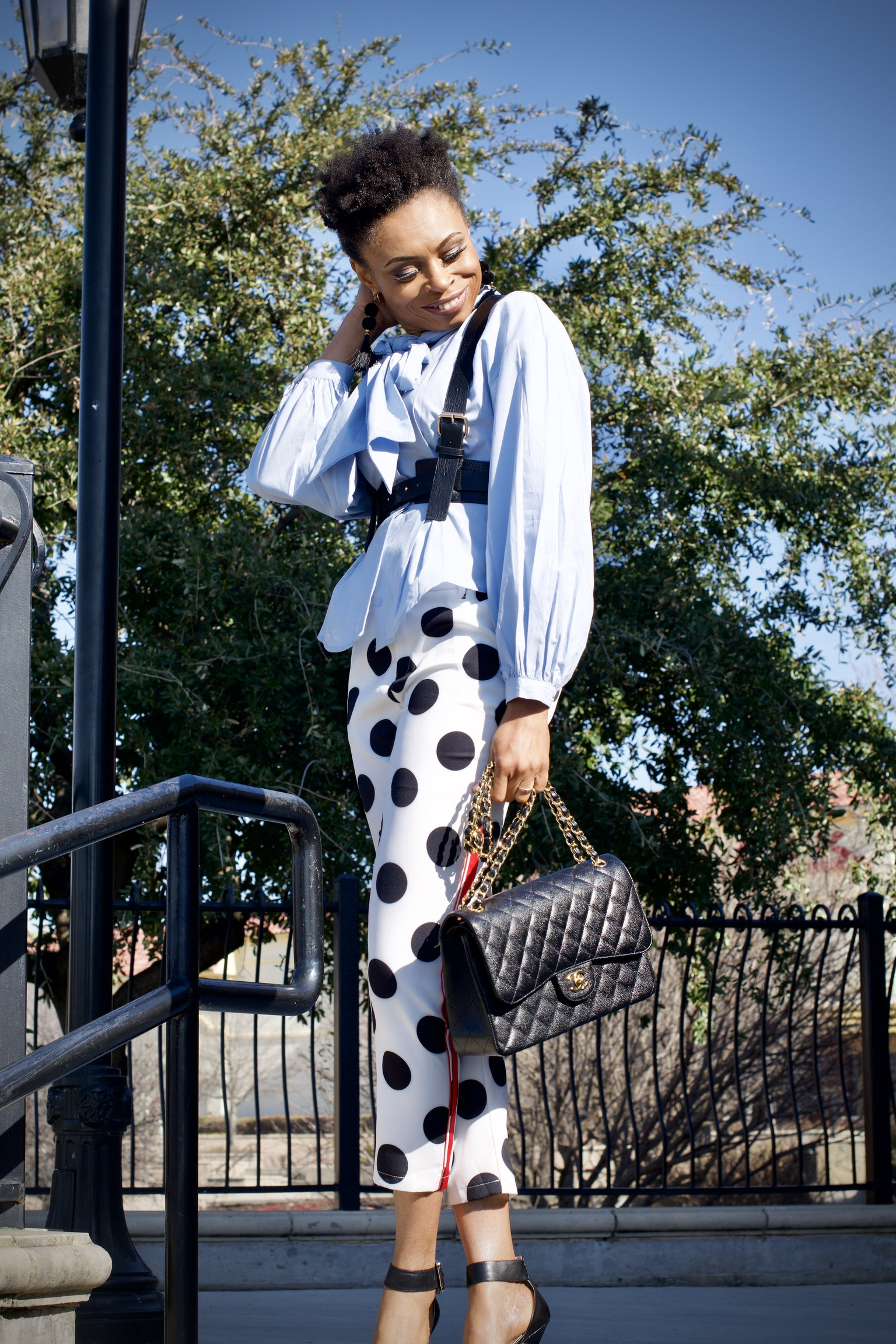 How to style side stripe polka dot ankle pants