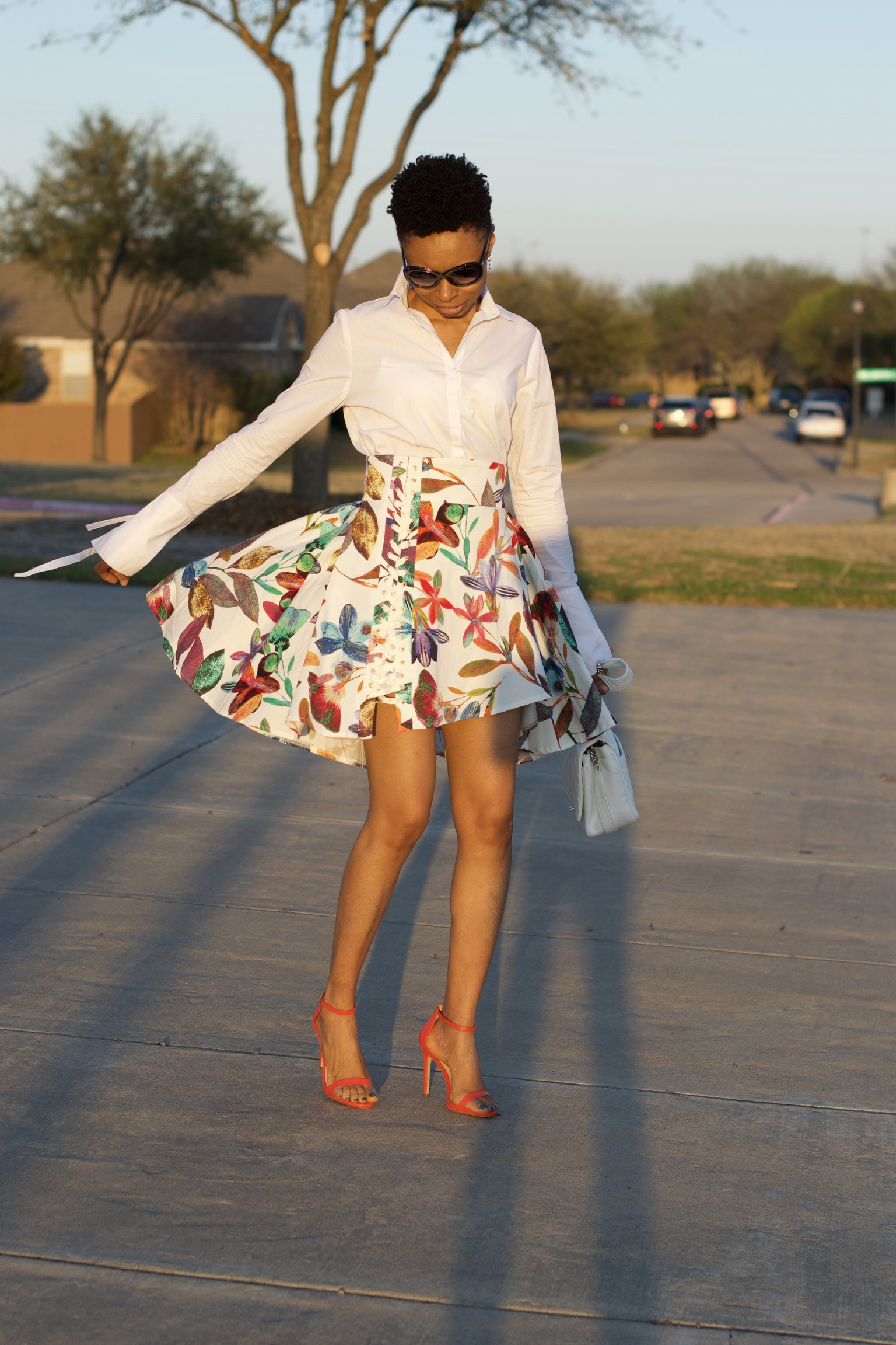 How to style asymmetric floral skirt