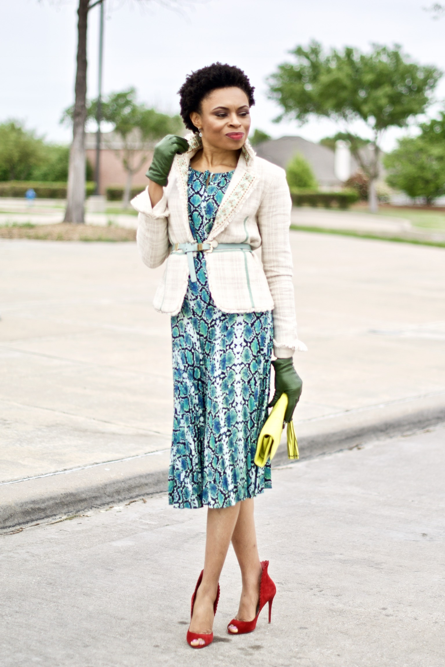 Styling Boucle Blazer + Midi dress for spring