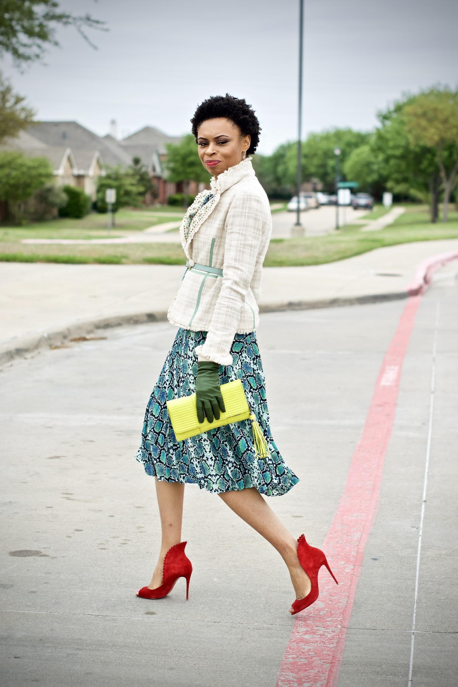 Styling Boucle Blazer + Midi dress for spring
