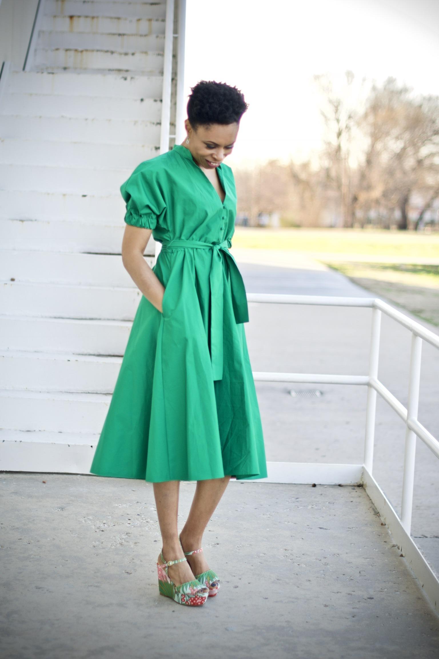 Midi dress + Floral wedge heels for spring