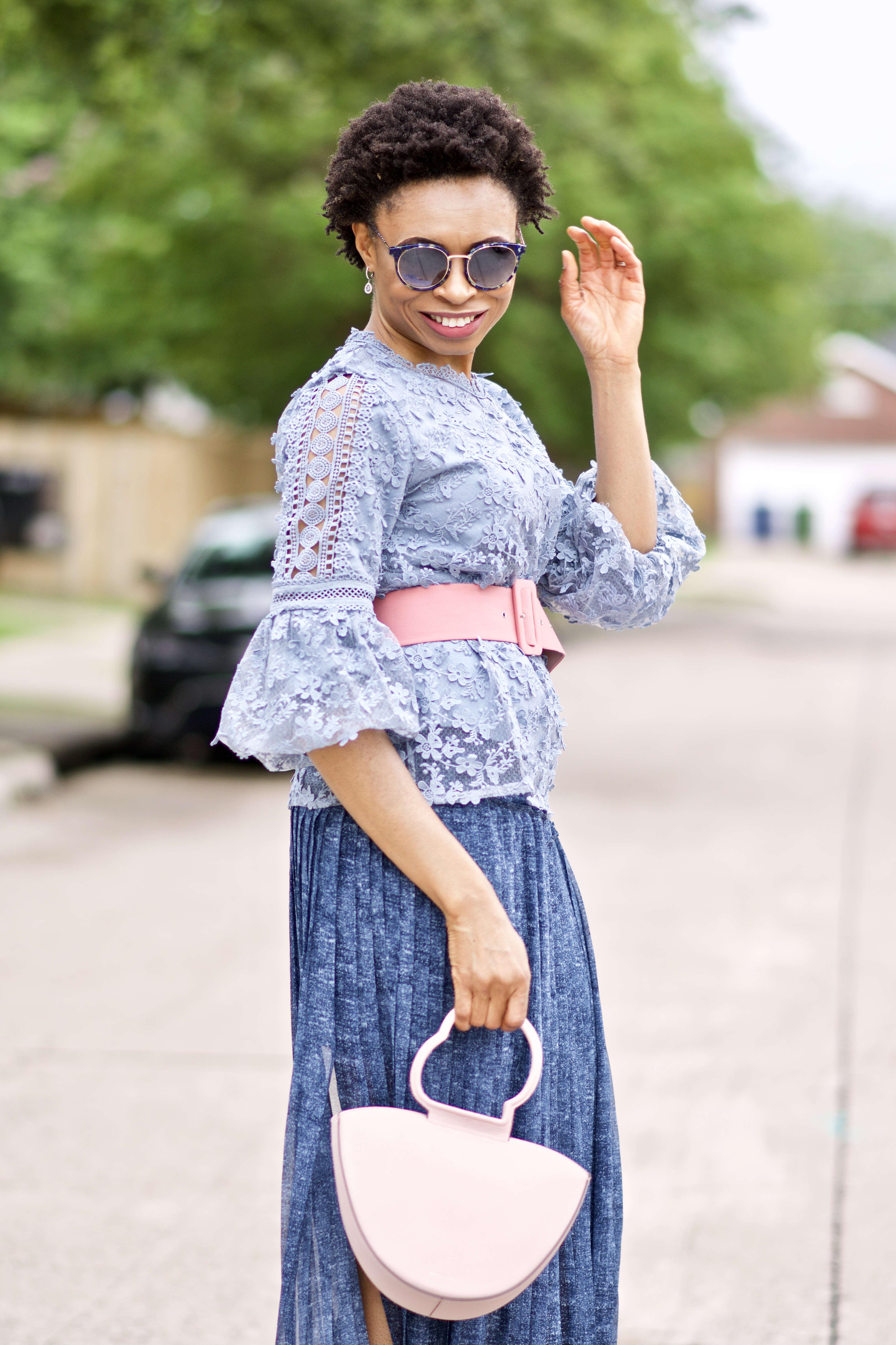 Statement sleeve lace top + pleated maxi skirt