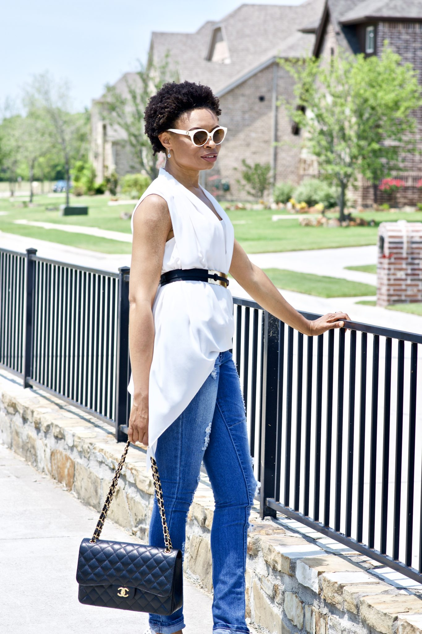 Red, White, and Blue with Ankara Duster