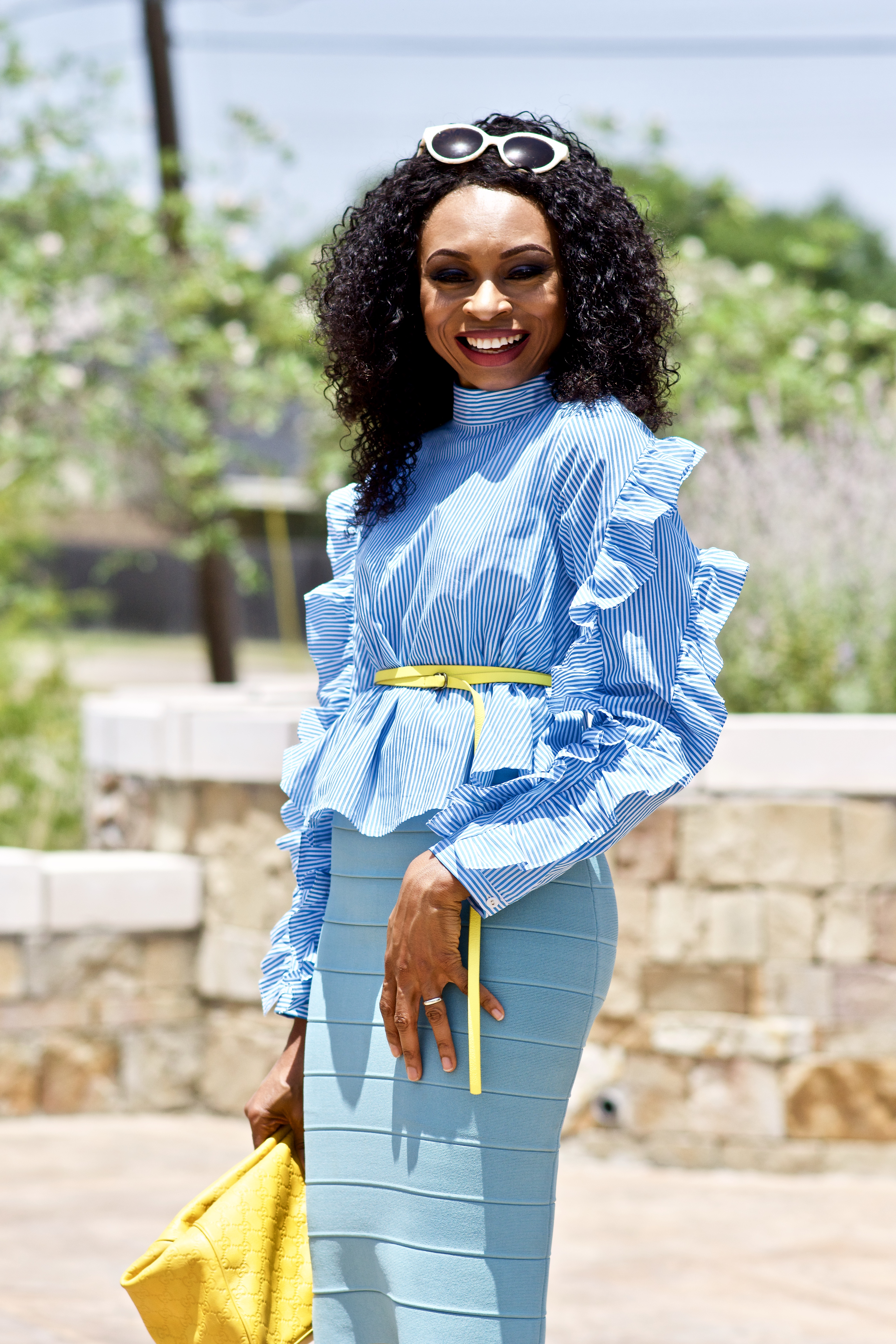 How to style a Pinstriped ruffle sleeve top