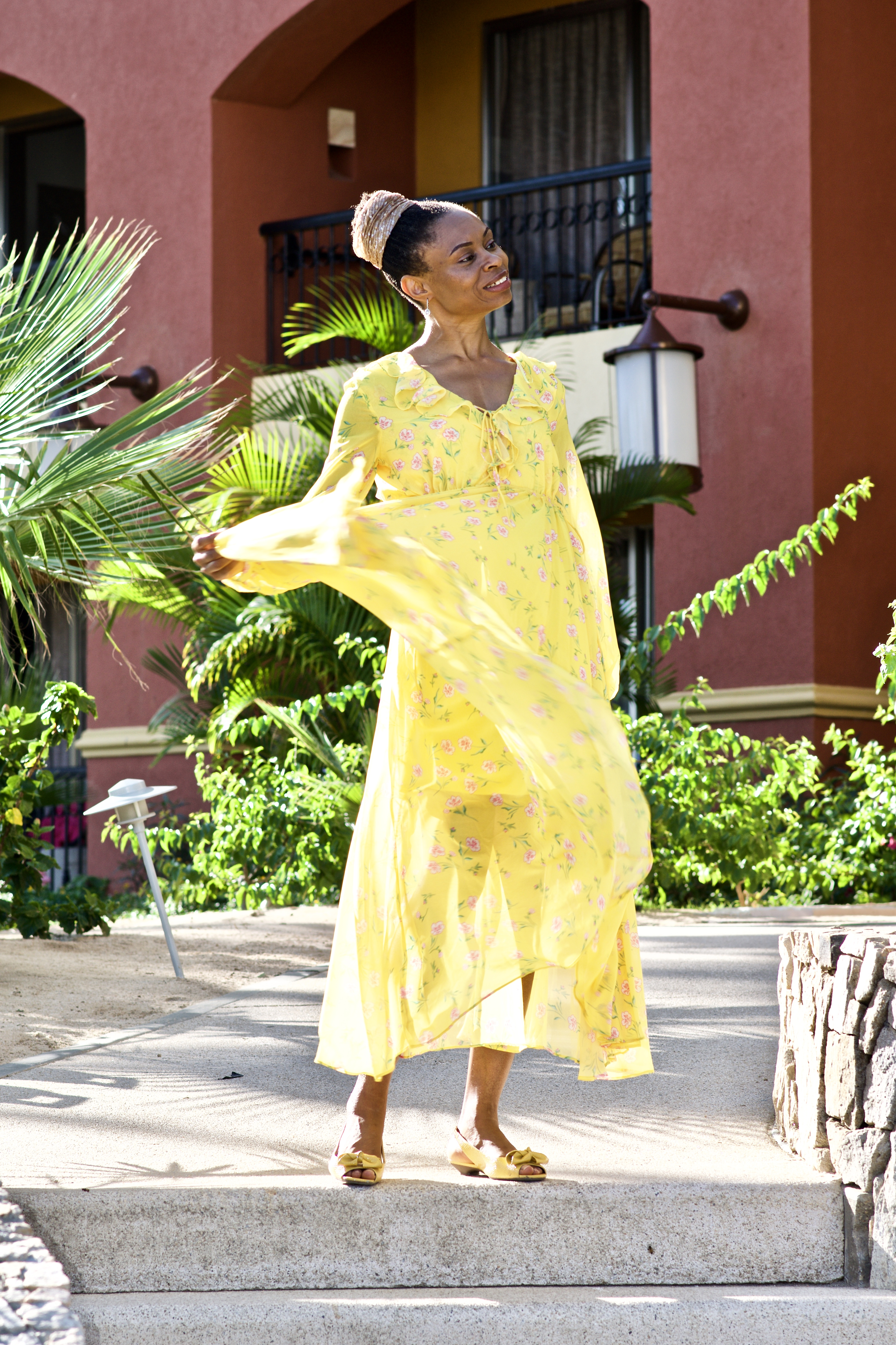 How to style a yellow floral Maxi dress