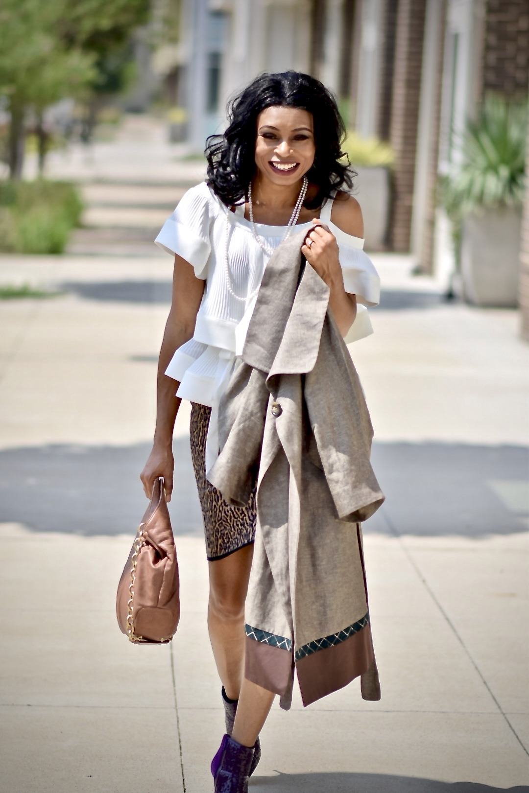 Tiered ruffle top + animal print bandage skirt