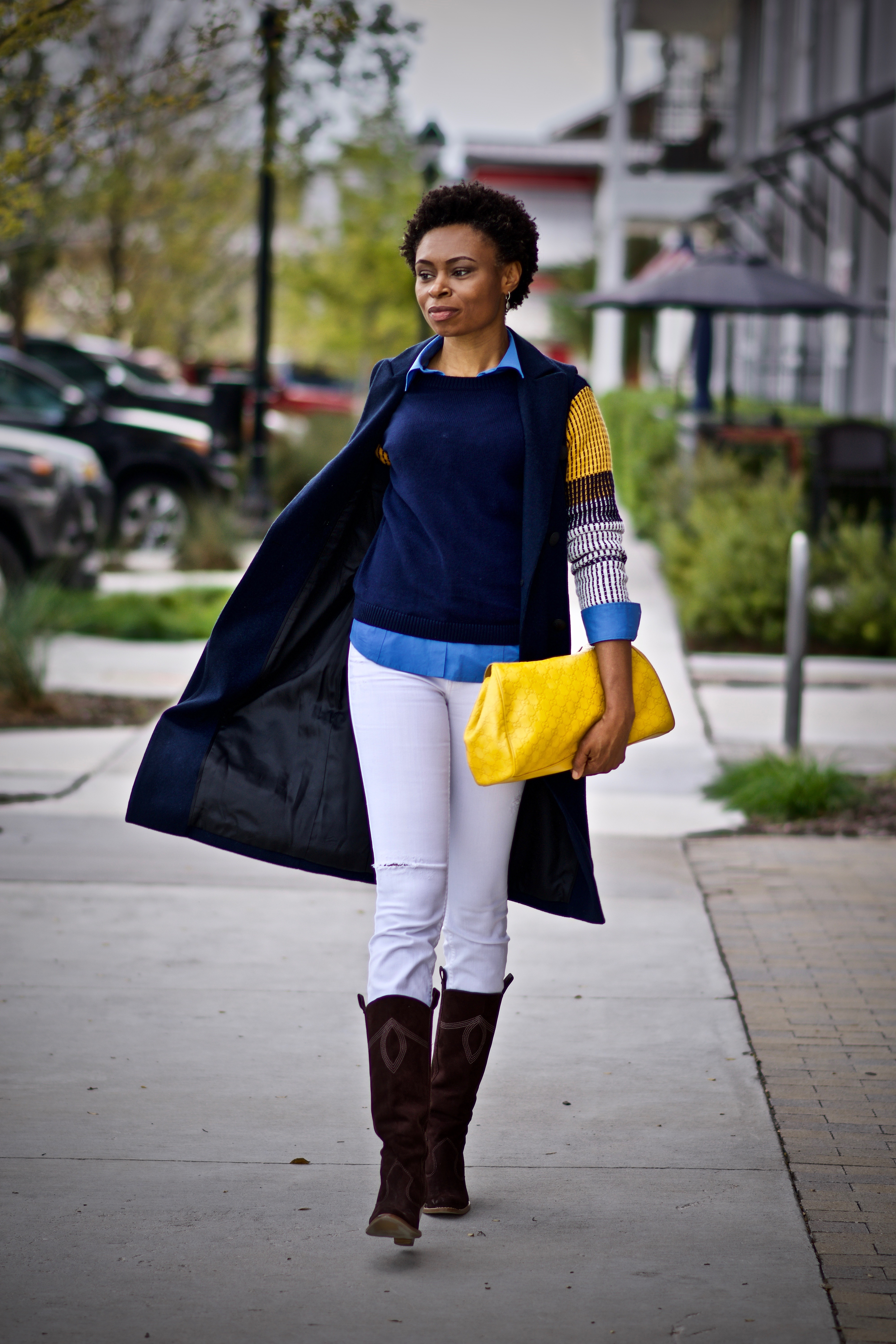 Styling a Contrast sleeve sweater + button down shirt