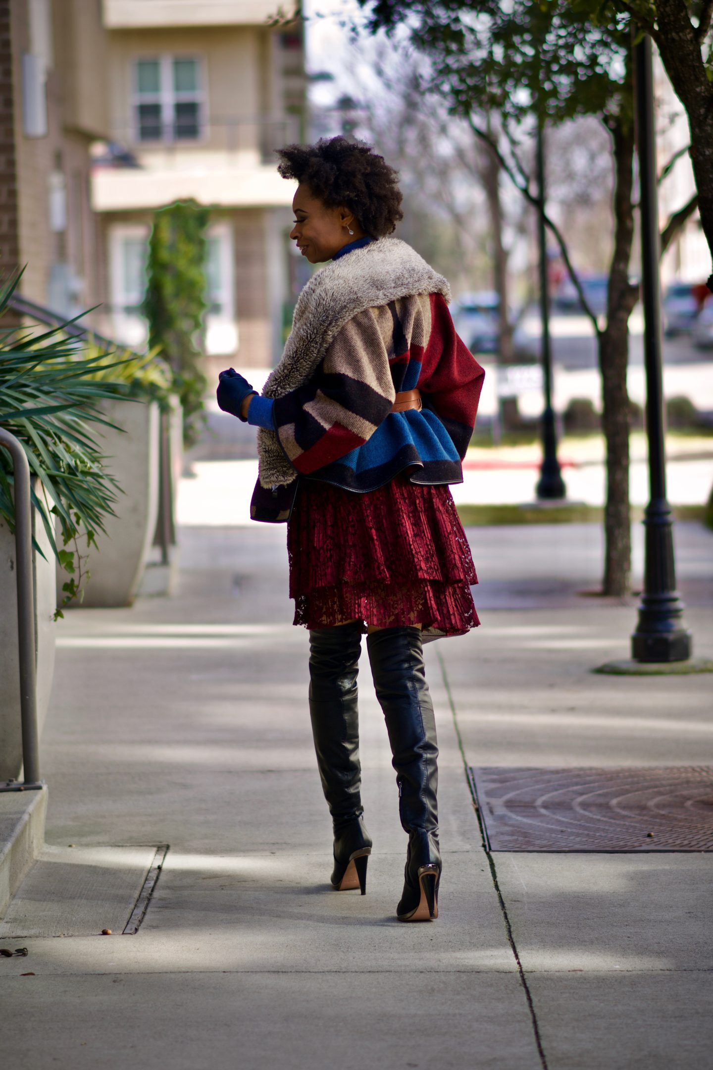 Styling a Poncho + tiered lace skirt