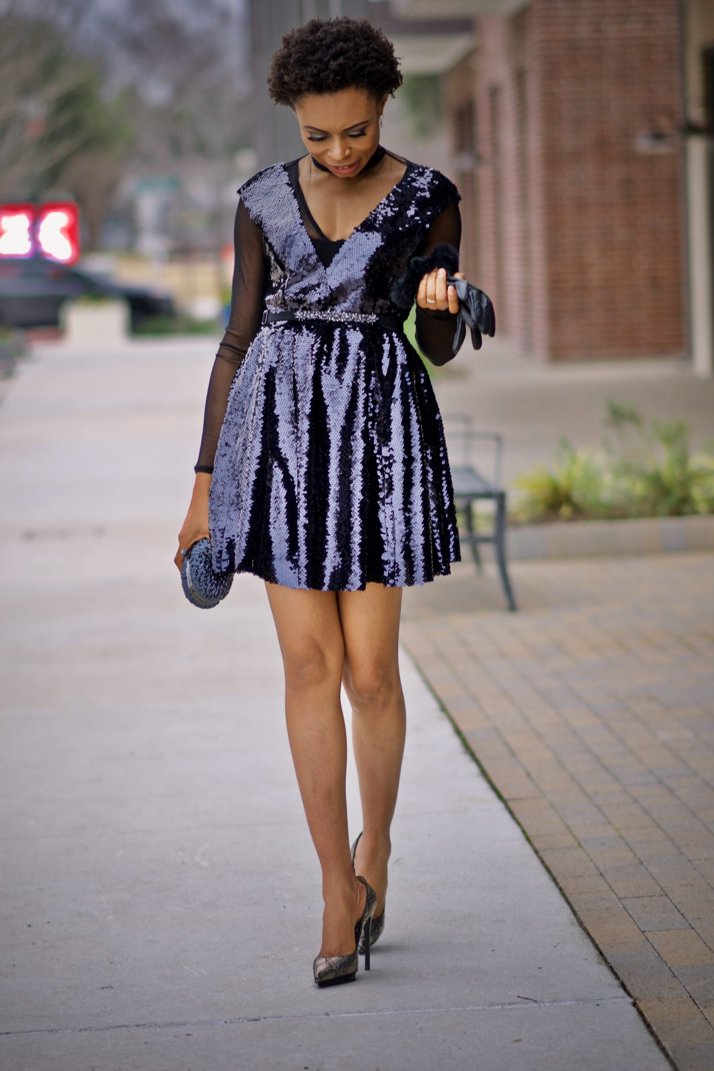 Sequined skater dress, the perfect party dress