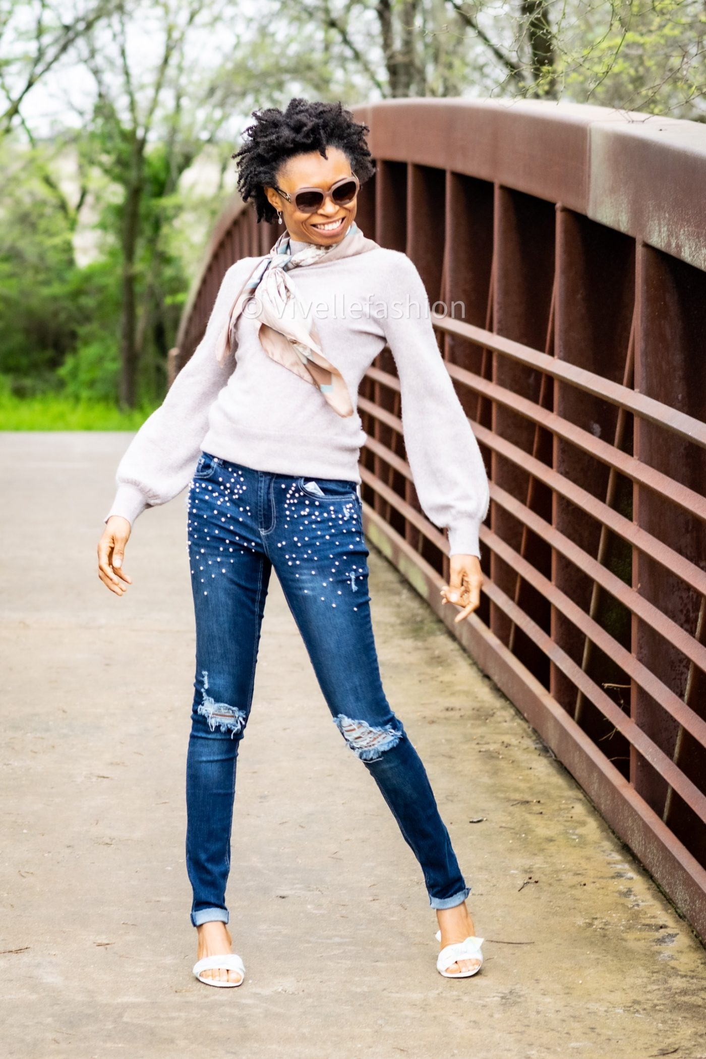 Pearl embellished jeans and cashmere sweater for fall